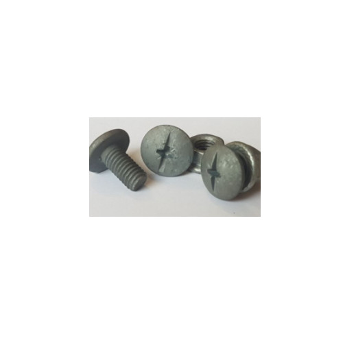 M6x8  Mushroom  Head  Combi-Drive  Tray  Bolts  Galvanised  With  Serrated  Nuts