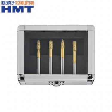 GoldMax TCT Burr 4 Pc Set, Flame, Cylinder, Ball Nose, Tree