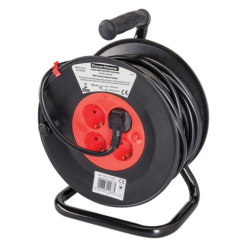 European Type F Schuko Cable Reel 230V 16A 25m 4 CEE 7/4 Sockets