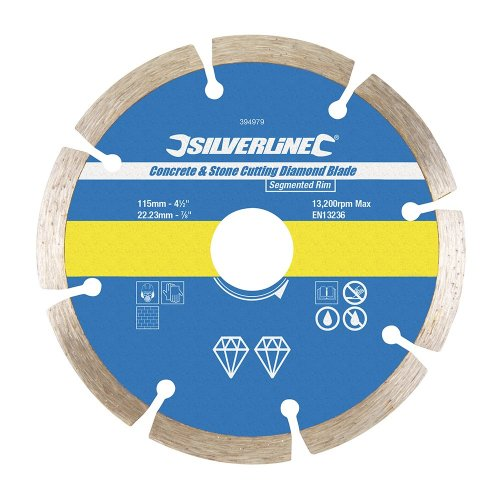 Concrete & Stone Cutting Diamond Blade 115 x 22.23mm Segmented Rim