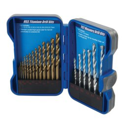 19Pce Titanium-Coated HSS & Masonry Drill Bit Set
