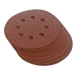 125mm Hook & Loop Discs Punched 60 Grit [Pack of 10]