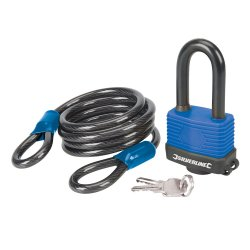 2Pce Looped Steel Security Cable & Weatherproof Padlock Set 1.8m x 8mm