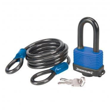 2Pce Looped Steel Security Cable & Weatherproof Padlock Set 1.8m x 8mm