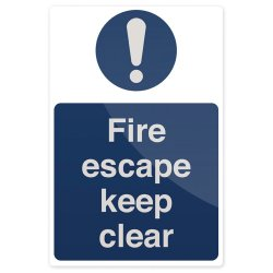 Fire Escape Keep Clear Sign 200 x 300mm Rigid