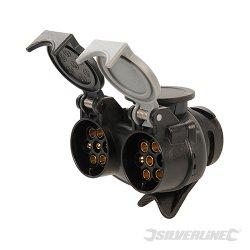 Twin Plug To Socket Towing Adaptor 7-Pin N & S-Type To 13-Pin