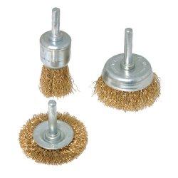 3Pce Brassed Steel Wire Wheel & Cup Brush Set