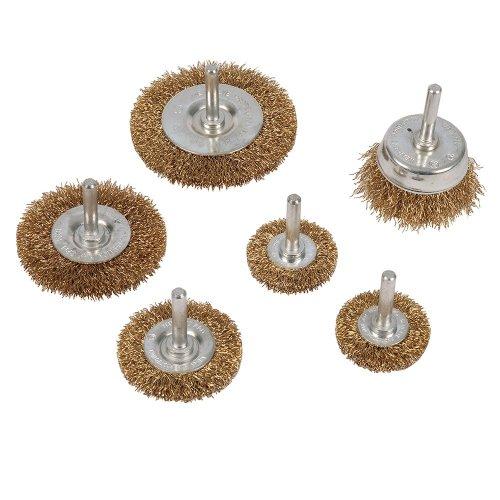 6Pce Brassed Steel Wire Wheel & Cup Brush Set