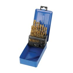 19Pce Titanium-Coated HSS Drill Bit Set