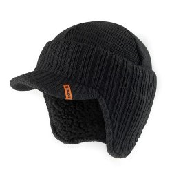 One size Peaked Knitted Hat Black