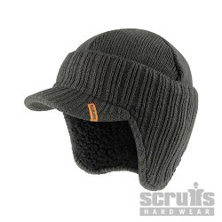 Peaked Knitted Hat Graphite