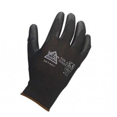Keep  Safe  Black  PU  Palm  Coated  Knitted  Wrist  Gloves