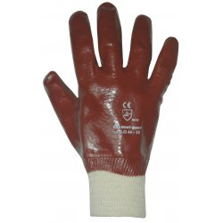 Keep Safe Red PVC Fully Coated Knitted Wrist Gloves EN388 [Size 10]