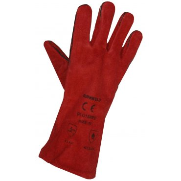 Red Leather Welders Gauntlets EN388 & EN407 [Cat 2]